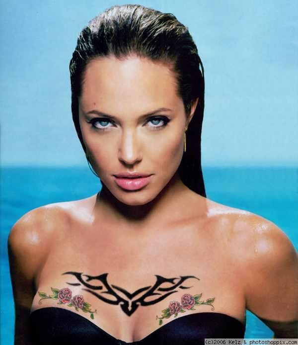 Attractive Extreme Angelina Jolie Tattoo For Girls