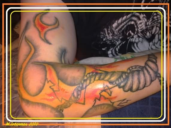 Attractive Fire n Flame Arm Tattoo Picture For Boys