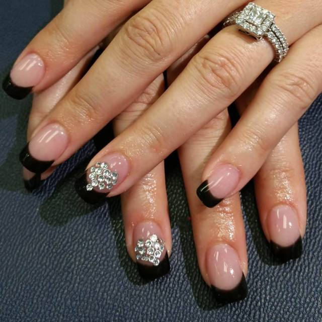 Awesome Black French Tip Nails With Crystal Design