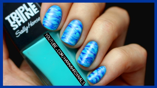 Awesome Blue Nail With Sea Type Design