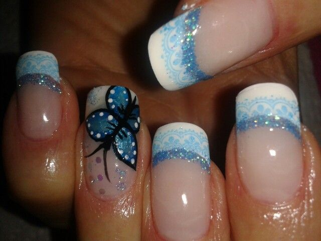 Awesome Butterfly Nail With Shaded Tip