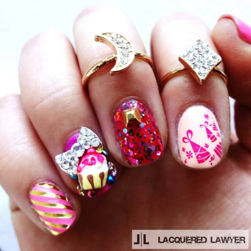 Awesome Colorful Hats And Ice Cream Birthday Nails