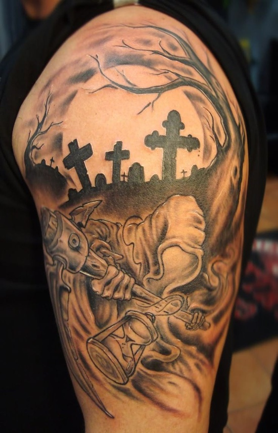 Awesome Graveyard n Cemetery Tattoo Design On Shoulder For Boys