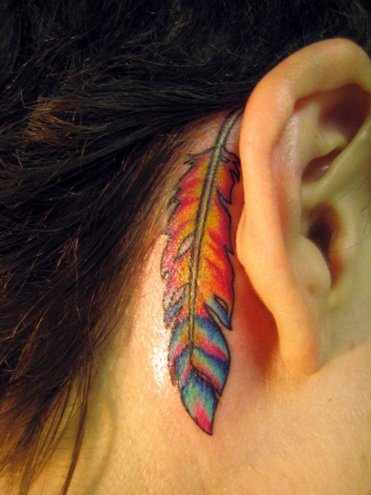 Awesome Hippie Feather Tattoo Behind Ear For Girls