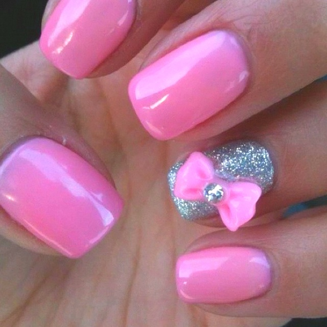 Awesome Pink And Silver Ribbon 3D Nail Art