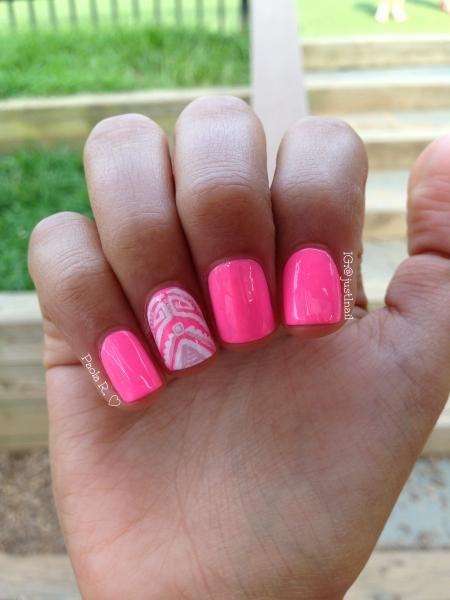 Awesome Pink nail Paint Accent Nail Design