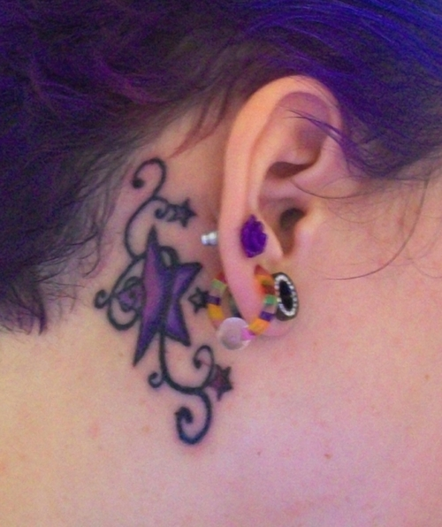 Awesome Star Tattoo Behind Ear For Girls