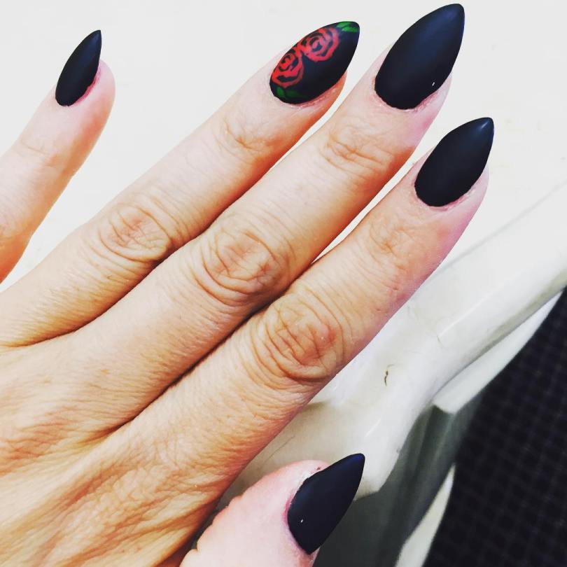 Awesome Stiletto Nails With Red Rose