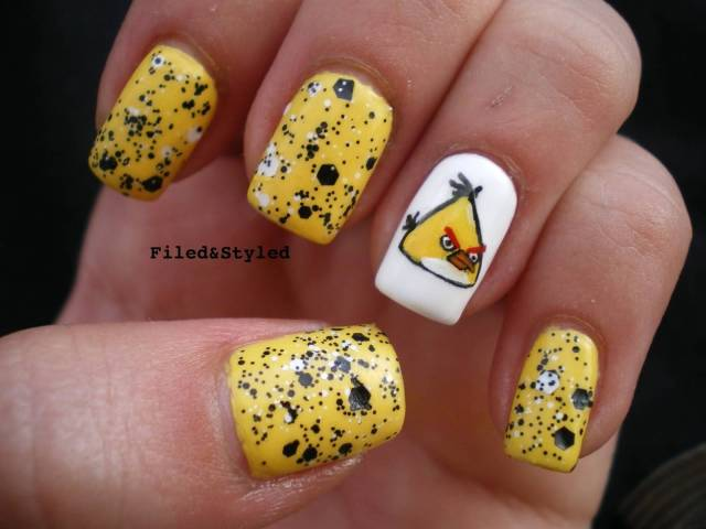 Awesome Yellow Color Angry Bird Nail Art Design