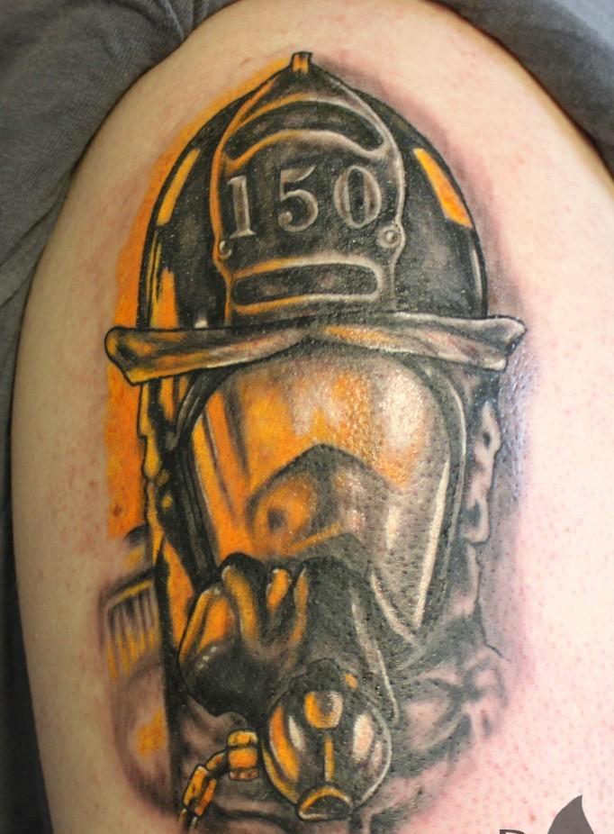 Beautiful Fire Helmet Portrait Tattoo For Boys