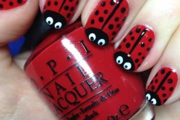 Beautiful Black Nail Art With Insect Design