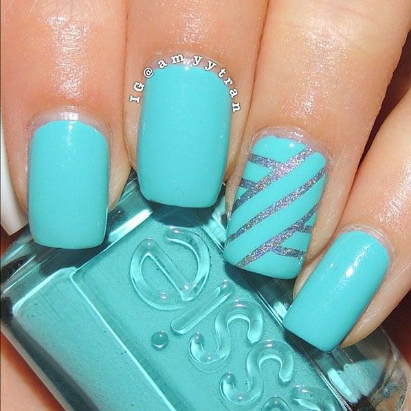 Beautiful Blue Nails With Silver Lining Design