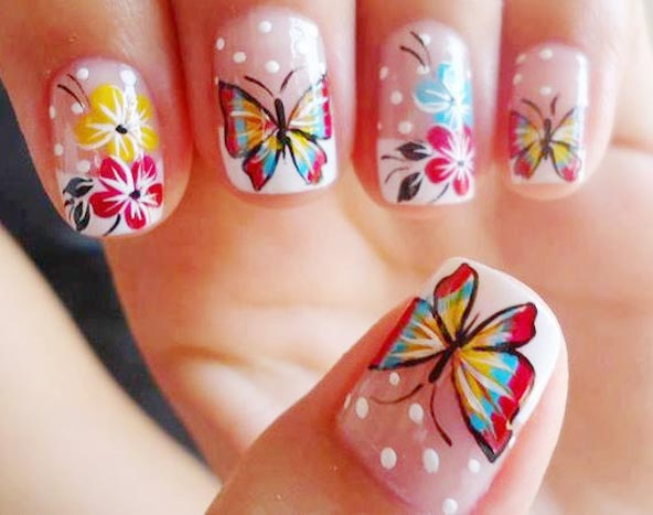 Beautiful Butterfly Nail With Baby pink design