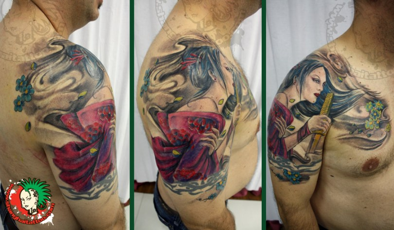 Beautiful Color Geisha Tattoo On Shoulder For Boys