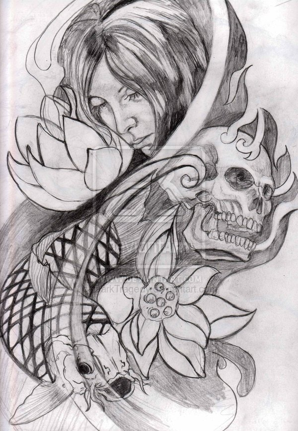 Beautiful Flowers Skull n Koi Fish Tattoo Design For Girls