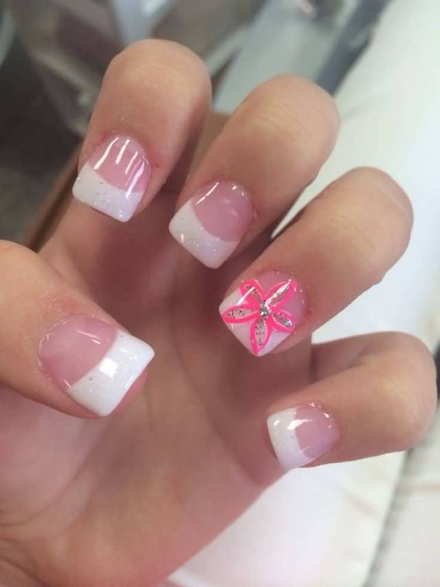 Beautiful Nails With Shining Paint And Red Flower 3D Rose Flower Nail Art
