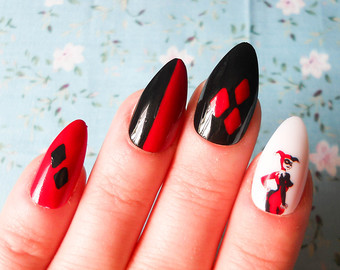 Beautiful Red And Black Color Paint Almond Shaped Acrylic Nail Art