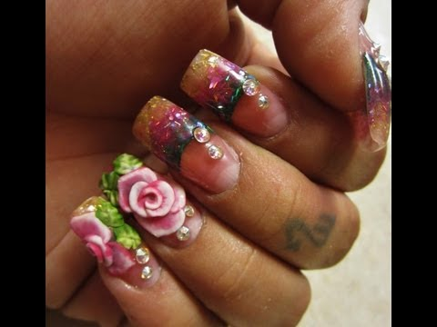 Beautiful Roses With Colorful Tips 3D Acrylic Nail Art