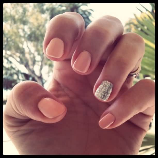 Beautiful Silver With Baby Pink Glitter Accent Nail Art