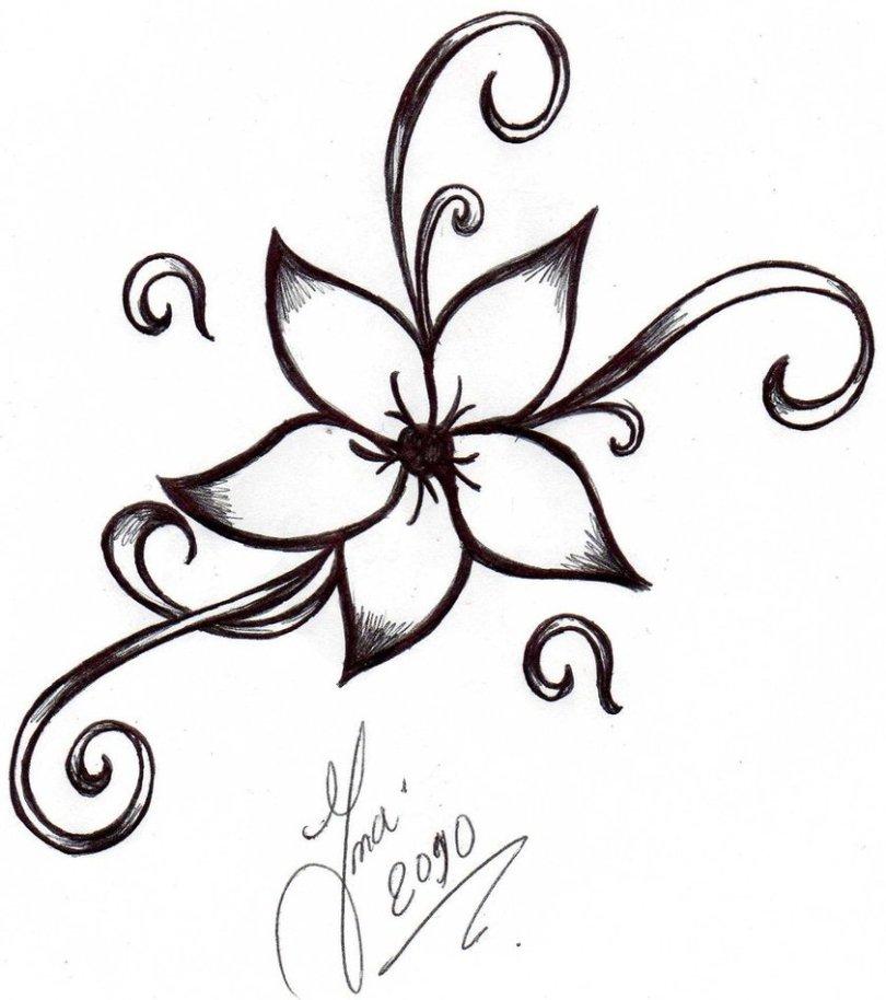 Beautiful Simple Flower Tattoo Design For Girls