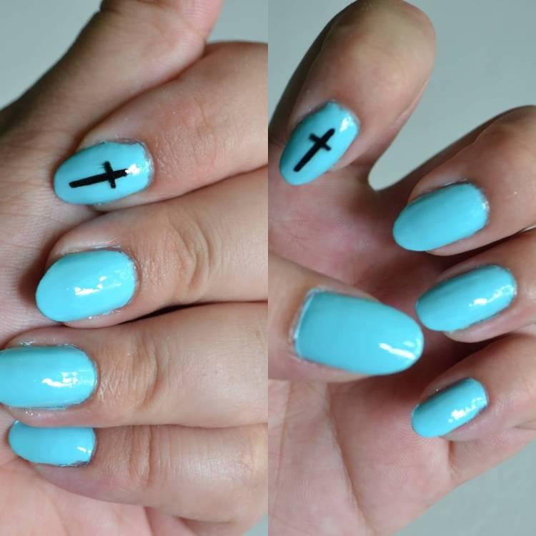 Beautiful Sky Blue And Black Color Almond Shaped Acrylic Nail Art