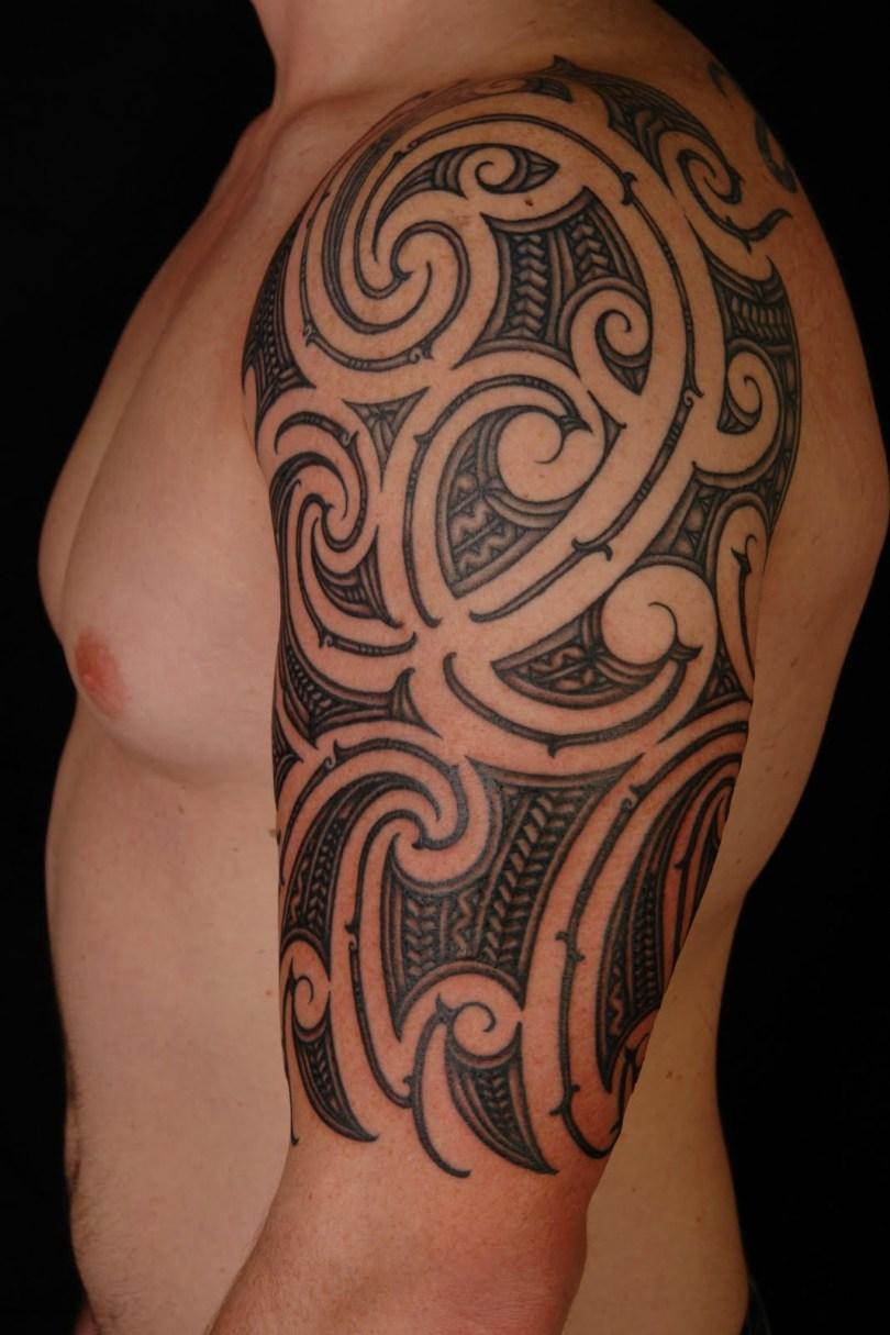 Beautiful Tribal Half Sleeve Tattoo Design For Boys