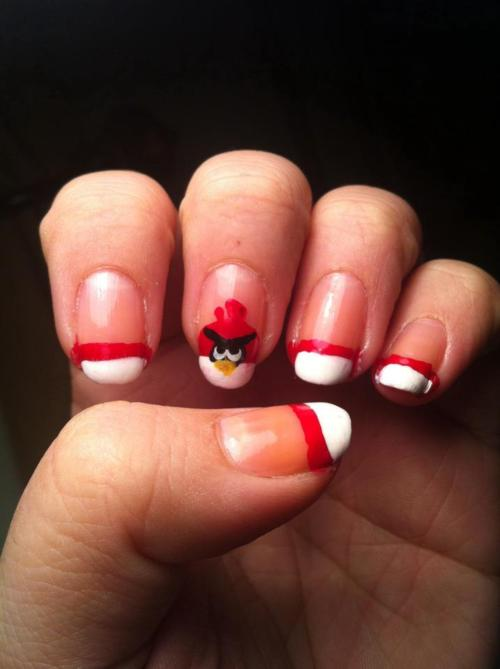 Beautiful White color Tip With Red Angry Bird Nail Art Design