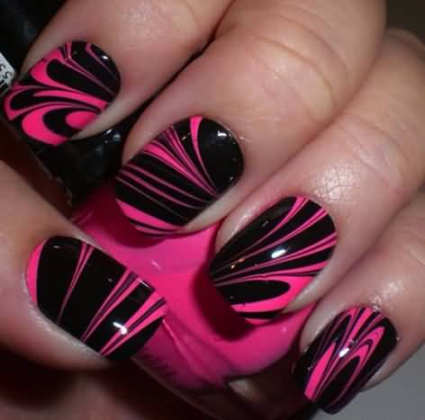 Best Black And Pink Nails With Glossy Black