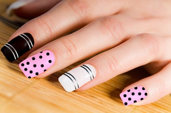 Best Black And Pink Nails With One White Paint Design