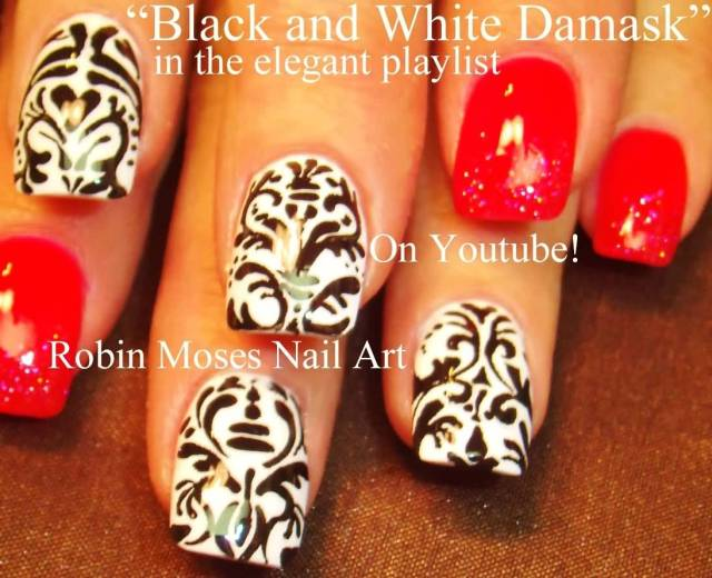 Best Black And White Nails With Red Paint