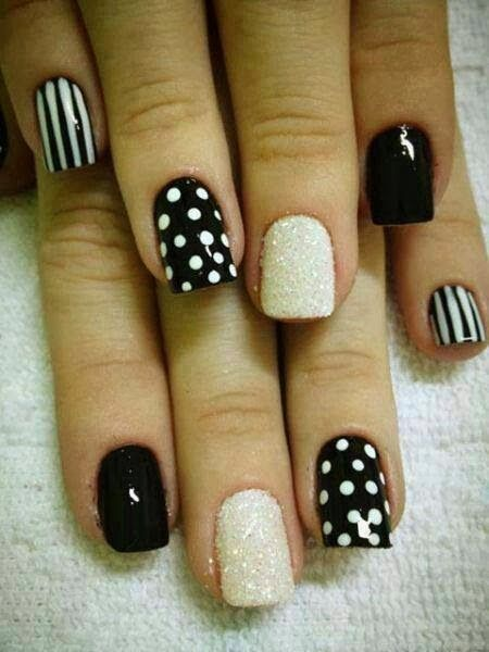 Best Black And White Polka Dot Nail Art With One Silver Paint