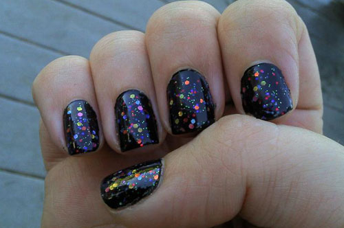 Best Black Nail Art Design Sparkling Nail Paint