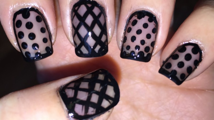 Best Black Nail Art Design With Dot And Cross Design