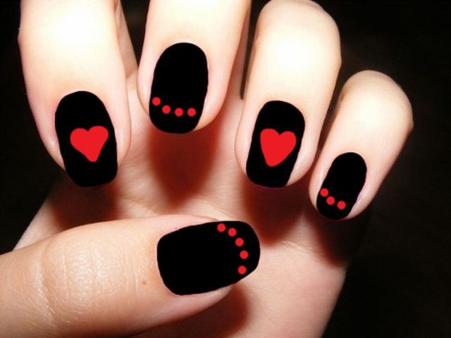 Best Black Nail Art With Red Color Heart Shape