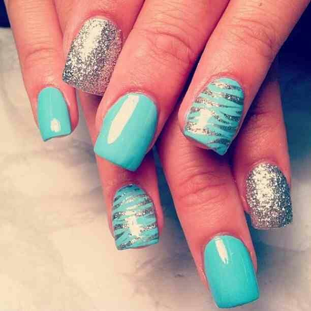 Best Blue Nail With Tiger Print Type Design