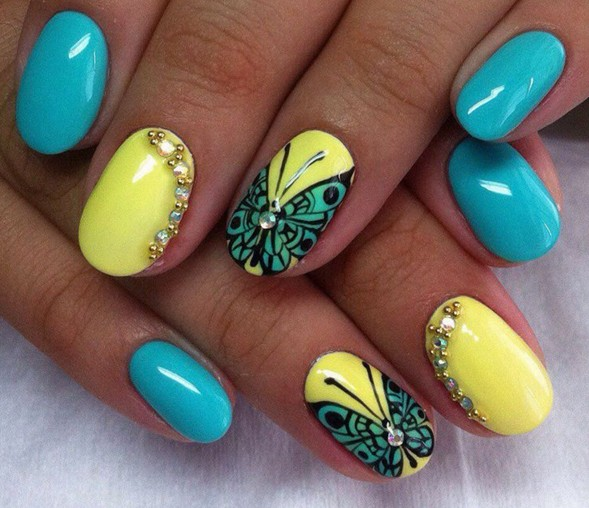 Best Butterfly Nail With Yellow Color Nail Paint Blue Butterfly Nails