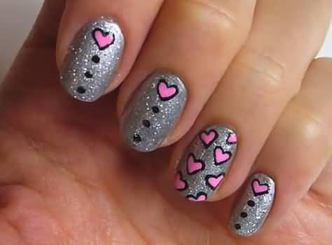 Best Ever Black Half Moon Nail With Heart Design