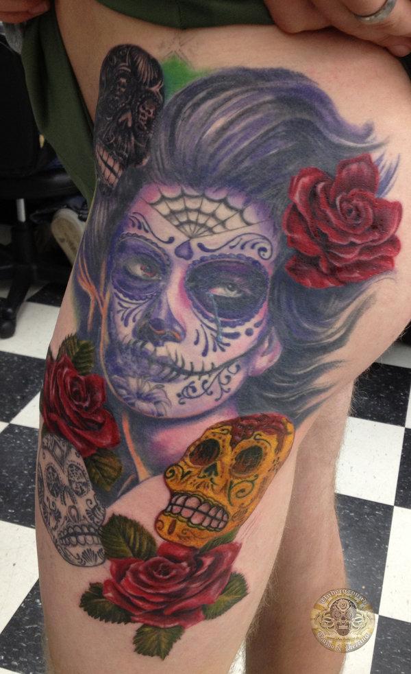 Best Ever Dia De Los Muertos Tattoo Design For Girls
