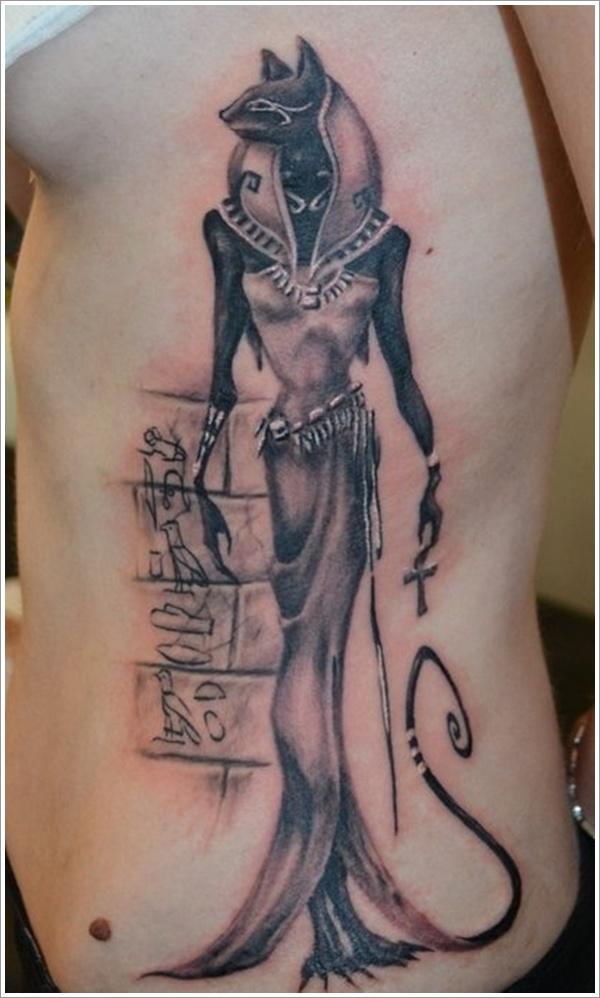 Best Ever Egyptian Tattoo On Ribs For Girls