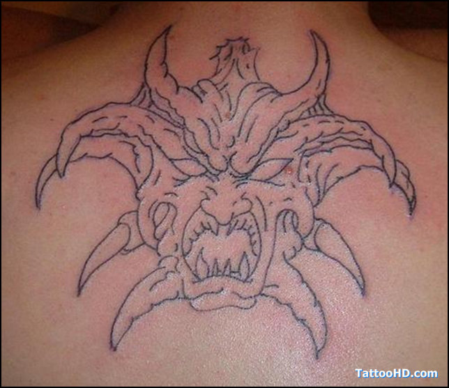 Best Ever Scary Gargoyle Face Tattoo On Back For Girls