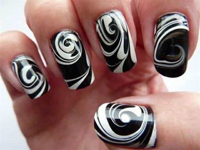 Black Nail With White Circle 3D Butterflies Nail Art