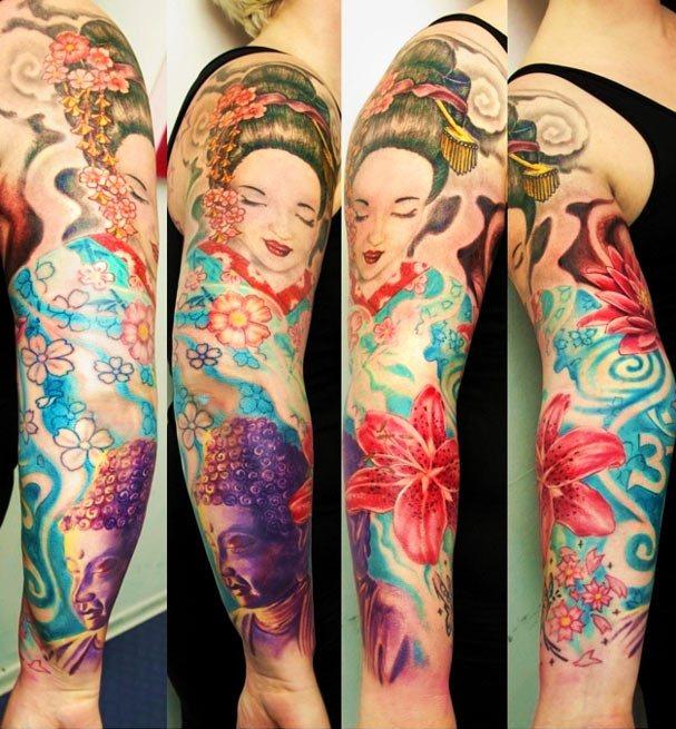 Brilliant Geisha Hibiscus Sleeve Tattoo Design For Girls