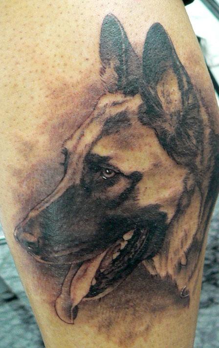 Brilliant German Shepherd Dog Tattoo Design For Girls