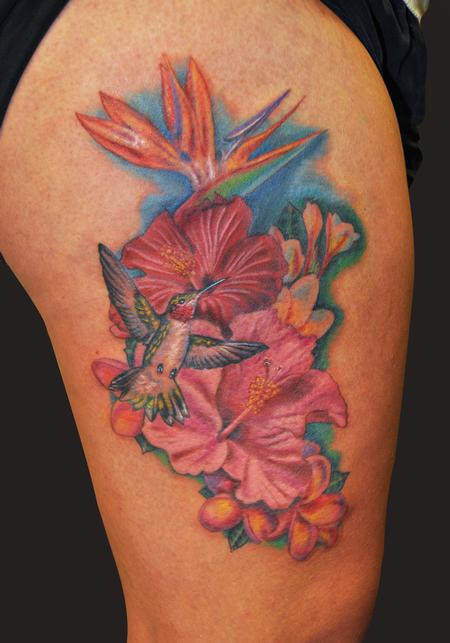 Brilliant Hawaiian Flowers Tattoo On Biceps For Boys