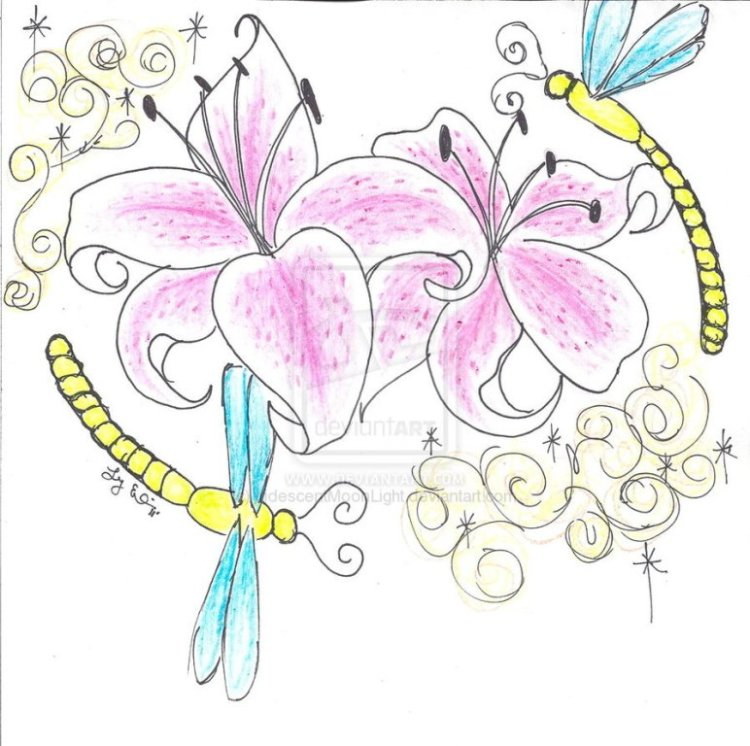 Brilliant Lily n Dragonfly Tattoo Design For Girls