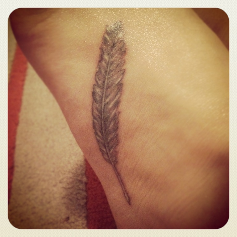 Charming Feather Tattoo Picture For Boys