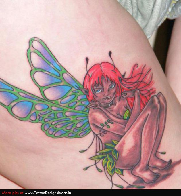 Charming Full Color Fairy Tattoo For Girls