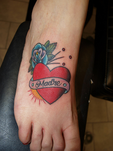 Charming Heart With Rose Tattoo On Foot For Boys
