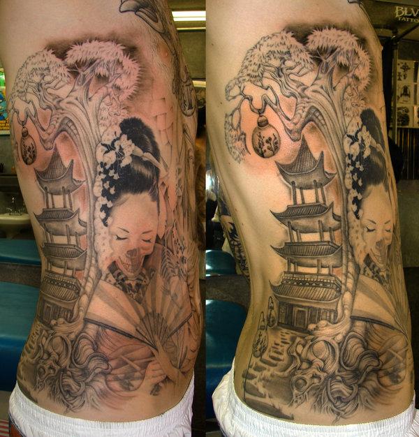Charming Japanese Girl Tattoo On Rib Side For Boys