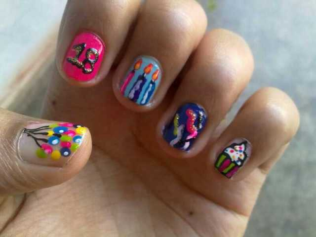 Colorful Balloons And Candles Birthday Nail Art